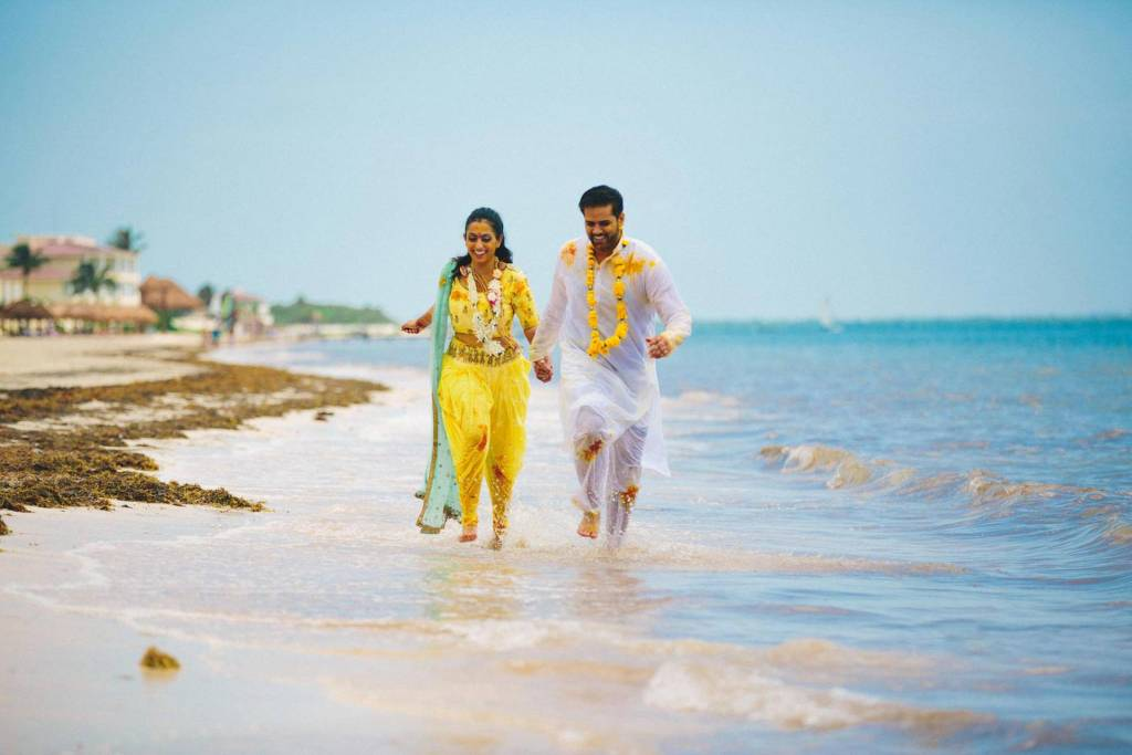 couple on beach for destination wedding